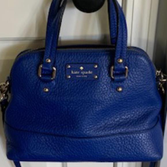 kate ♠️ spade  cobalt blue leather pebbled leather